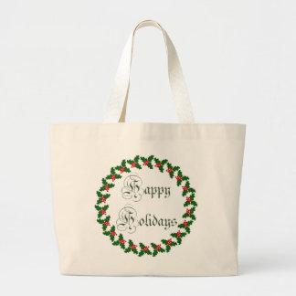 Buenas fiestas con la guirnalda del acebo bolsas lienzo