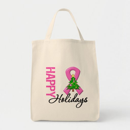 Buenas fiestas conciencia del cáncer de pecho bolsa tela para la compra