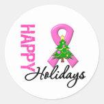 Buenas fiestas conciencia del cáncer de pecho pegatina redonda