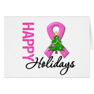 Buenas fiestas conciencia del cáncer de pecho tarjeta