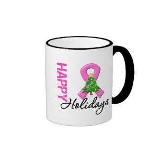 Buenas fiestas conciencia del cáncer de pecho taza de café