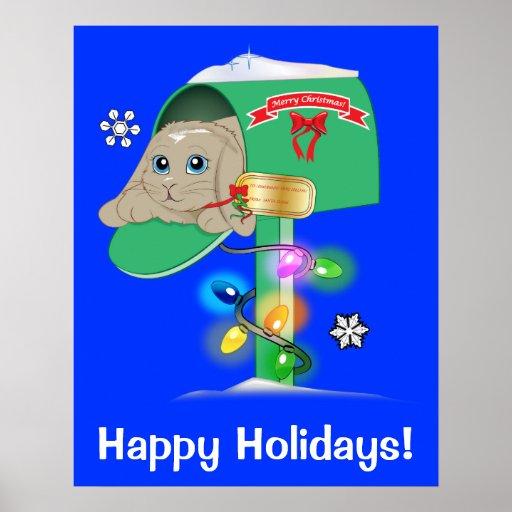 Buenas fiestas conejito de la sorpresa del navidad póster
