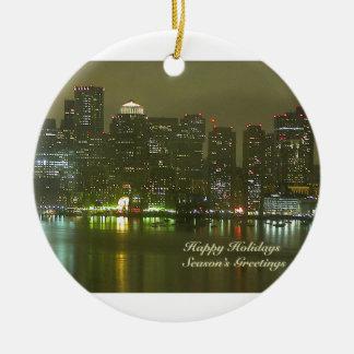 Buenas fiestas de Boston Ornamento Para Arbol De Navidad