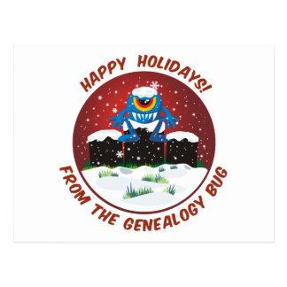 Buenas fiestas de insecto de la genealogía tarjetas postales
