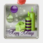Buenas fiestas decoraciones verdes púrpuras adorno cuadrado plateado