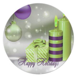 Buenas fiestas decoraciones verdes púrpuras platos para fiestas