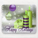 Buenas fiestas decoraciones verdes púrpuras alfombrillas de raton