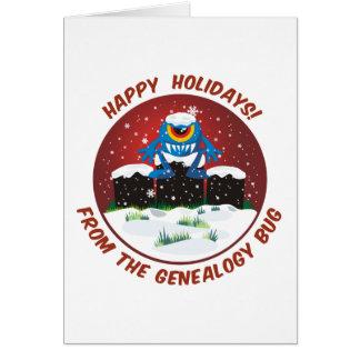 Buenas fiestas del insecto de la genealogía tarjeta de felicitación