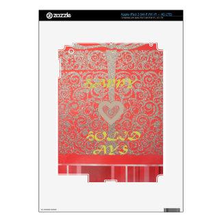 Buenas fiestas diseño rojo del corazón del brillo iPad 3 pegatina skin