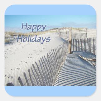Buenas fiestas dunas y cercas de arena pegatina cuadrada