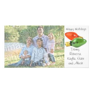 Buenas fiestas el italiano enciende la tarjeta de  tarjetas personales con fotos
