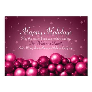 Buenas fiestas el rosa adorna la tarjeta plana comunicado personalizado
