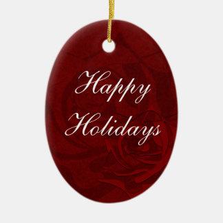 Buenas fiestas en el ornamento rojo del navidad adorno navideño ovalado de cerámica