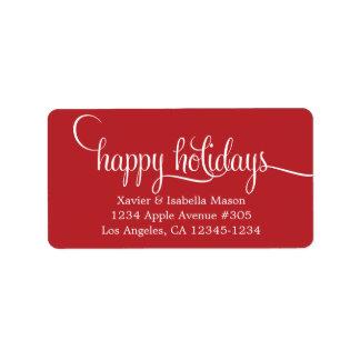 Buenas fiestas escritura minúscula etiquetas de dirección
