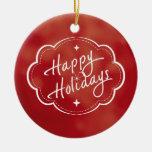 Buenas fiestas estación adorno navideño redondo de cerámica