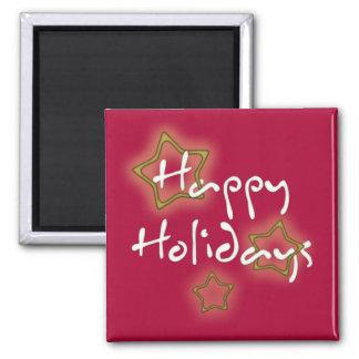 Buenas fiestas estrellas del navidad imán cuadrado