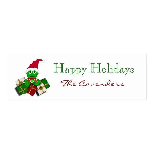 Buenas fiestas etiquetas del regalo de la rana del tarjetas de visita