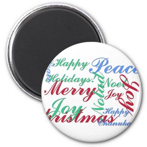 Buenas fiestas, Felices Navidad, paz, Chan feliz Imán Redondo 5 Cm