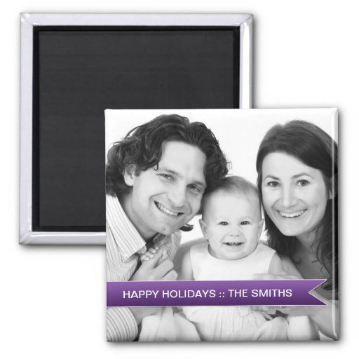 Buenas fiestas foto de familia púrpura elegante de imán para frigorifico