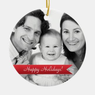 Buenas fiestas foto de familia roja elegante de la adorno de navidad