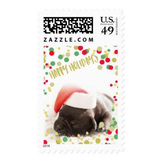 Buenas fiestas foto del personalizado del confeti timbres postales
