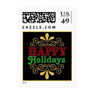 Buenas fiestas franqueo colorido de la tipografía  estampillas