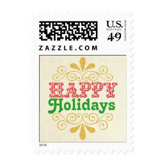 Buenas fiestas franqueo de la tipografía del damas timbres postales