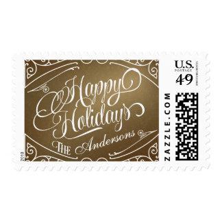 Buenas fiestas franqueo elegante del navidad del sello postal