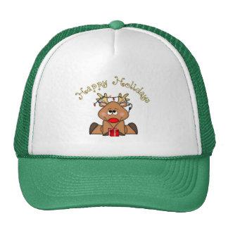Buenas fiestas gorra del reno de Rudy