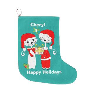 Buenas fiestas gorras lindos de Santa de los gatos Calcetín De Navidad Grande