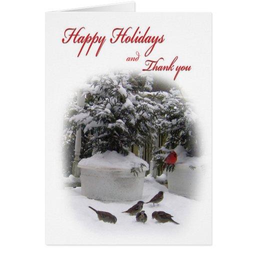 Buenas fiestas gracias con el cardenal tarjeta de felicitación
