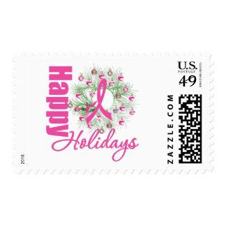 Buenas fiestas guirnalda rosada de la cinta sello postal