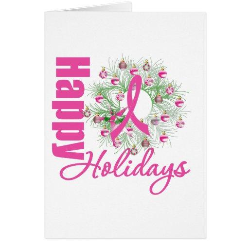 Buenas fiestas guirnalda rosada de la cinta tarjeta de felicitación