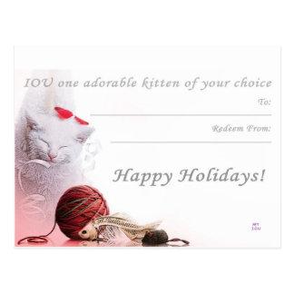 Buenas fiestas I.O.U un gatito Tarjeta Postal