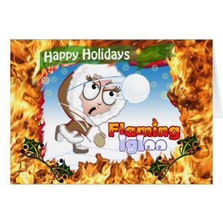 Buenas fiestas iglú el flamear tarjeta de felicitación