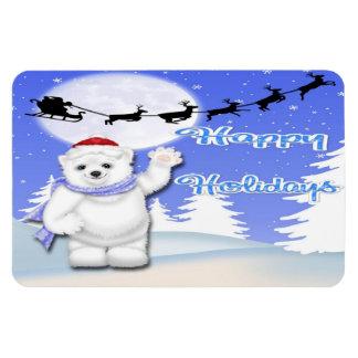 Buenas fiestas imanes de la flexión del oso polar