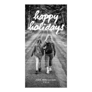 Buenas fiestas intrépido blanco del día de fiesta tarjetas fotográficas personalizadas