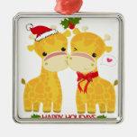 Buenas fiestas jirafas del amor ornamento para arbol de navidad