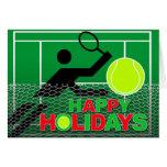 Buenas fiestas jugador de tenis de la tarjeta