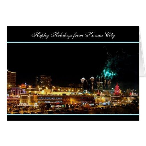 Buenas fiestas luces de la plaza de Kansas City de Tarjeta De Felicitación