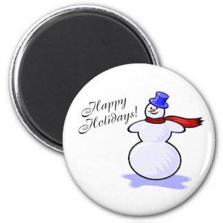 Buenas fiestas (muñeco de nieve) iman de nevera
