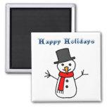 Buenas fiestas muñeco de nieve imanes