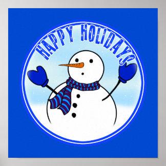 Buenas fiestas - muñeco de nieve lindo con las man poster
