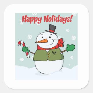 Buenas fiestas muñeco de nieve colcomania cuadrada
