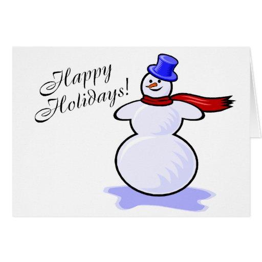 Buenas fiestas muñeco de nieve tarjetas