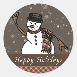 Buenas fiestas muñeco de nieve (versión de Brown) Pegatina Redonda