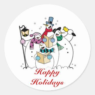Buenas fiestas, muñecos de nieve de Caroling Pegatina Redonda
