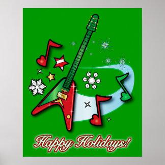Buenas fiestas navidad guitarra y notas poster