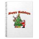 Buenas fiestas navidad que adorna libros de apuntes