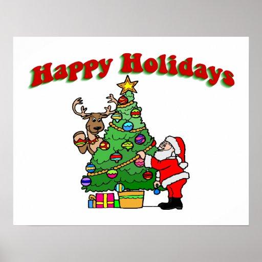 Buenas fiestas navidad que adorna póster
